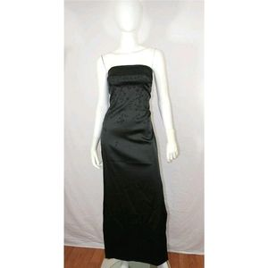 Vtg 90s Micro Beaded Floral Satiny Dress Gown S